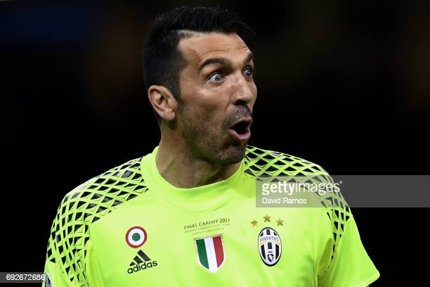 Gianluigi Buffon of Juventus reacts during the UEFA Champions League Final between Juventus and Real Madrid at National Stadium of Wales on June 3...