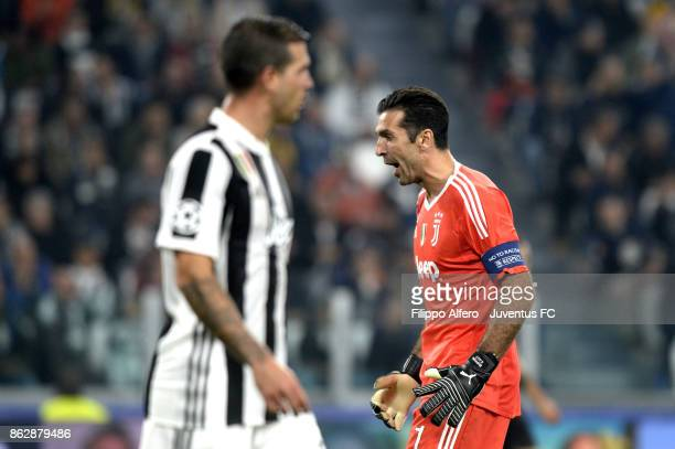 Gianluigi Buffon of Juventus reacts during the UEFA Champions League group D match between Juventus and Sporting CP at Allianz Stadium on October 18...