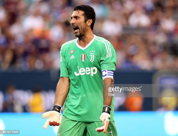 Gianluigi Buffon of Juventus reacts in the first half against Barcelona during the International Champions Cup 2017 on July 22 2017 at MetLife...