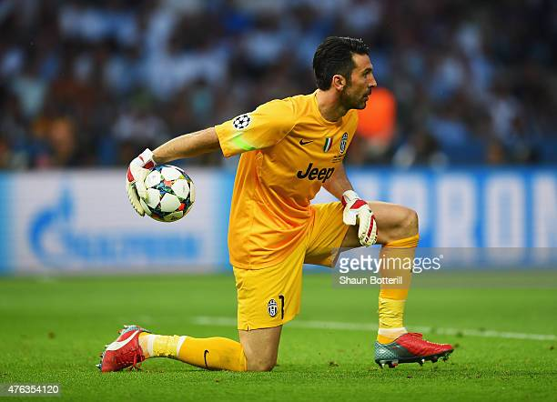 Gianluigi Buffon of Juventus rolls the ball out during the UEFA Champions League Final between Juventus and FC Barcelona at Olympiastadion on June 6...