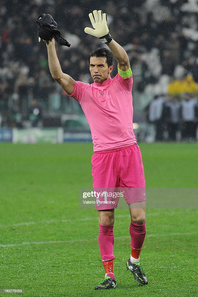 Gianluigi Buffon of Juventus salutes the Fans of Celtic at the end of the UEFA Champions League round of 16 second leg match between Juventus and Celtic at Juventus Arena on March 6, 2013 in Turin, Italy.
