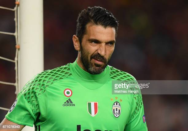 Gianluigi Buffon of Juventus seen during the UEFA Champions League Quarter Final second leg match between FC Barcelona and Juventus at Camp Nou on...