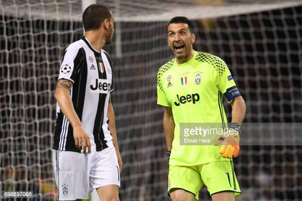 Gianluigi Buffon of Juventus shouts during the UEFA Champions League final match between Juventus and Real Madrid at National Stadium of Wales on...