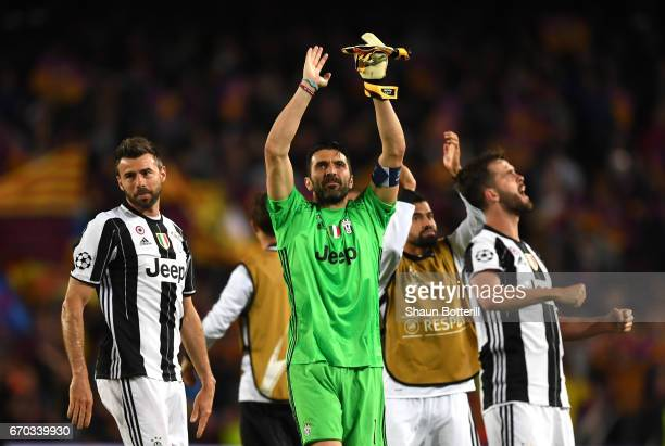 Gianluigi Buffon of Juventus shows appreciation to the fans after the UEFA Champions League Quarter Final second leg match between FC Barcelona and...