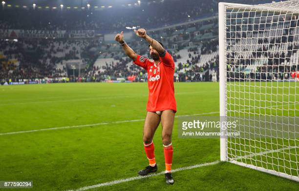Gianluigi Buffon of Juventus shows appreciation to the fans during the UEFA Champions League group D match between Juventus and FC Barcelona at...