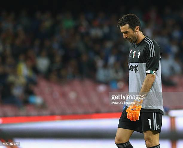 Gianluigi Buffon of Juventus shows his dejection during the Serie A match between SSC Napoli and Juventus FC at Stadio San Paolo on September 26 2015...