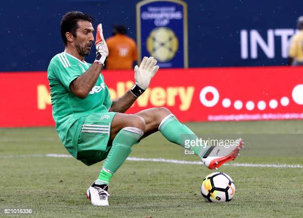 Gianluigi Buffon of Juventus stops a shot in the first half against Barcelona during the International Champions Cup 2017 on July 22 2017 at MetLife...