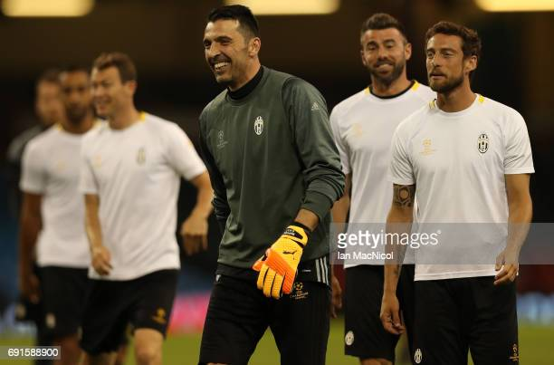 Gianluigi Buffon of Juventus takes part in a training session prior to The UEFA Champions League Final between Juventus and Real Madrid at the...