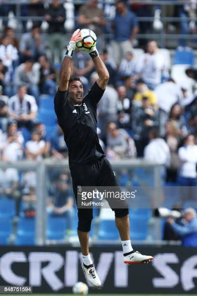 Gianluigi Buffon of Juventus uring the Serie A match between US Sassuolo and Juventus at Mapei Stadium Citta' del Tricolore on September 17 2017 in...