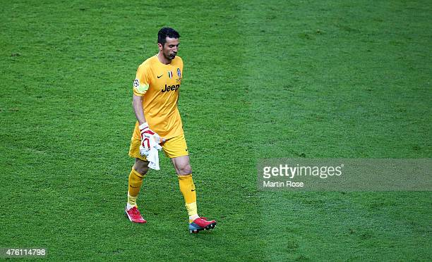 Gianluigi Buffon of Juventus walks off for half time during the UEFA Champions League Final between Juventus and FC Barcelona at Olympiastadion on...