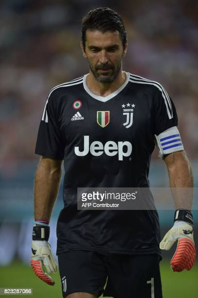 Gianluigi Buffon of Juventus walks on the field during their International Champions Cup football match against Paris SaintGermain on July 26 2017 at...