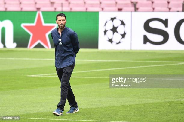 Gianluigi Buffon of Juventus walks on the pitch prior to the Juventus press conference at the Camp Nou on April 18 2017 in Barcelona Spain