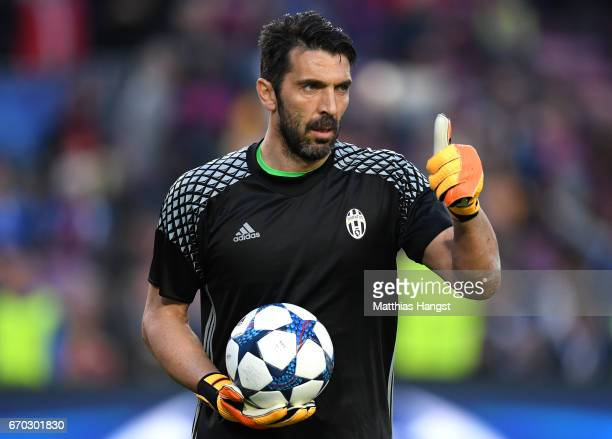 Gianluigi Buffon of Juventus warms up prior to the UEFA Champions League Quarter Final second leg match between FC Barcelona and Juventus at Camp Nou...
