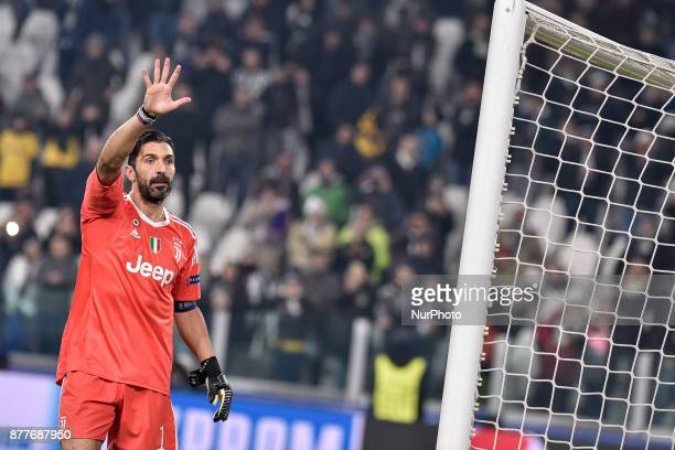 Gianluigi Buffon of Juventus waves his supporters at the end of the UEFA Champions League match between Juventus and Barcelona at the Juventus...