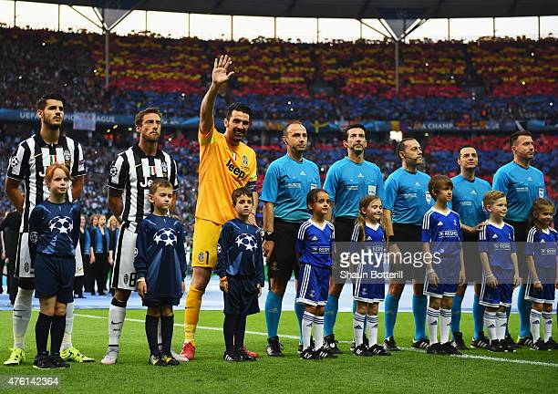Gianluigi Buffon of Juventus waves to the crowd during the UEFA Champions League Final between Juventus and FC Barcelona at Olympiastadion on June 6...