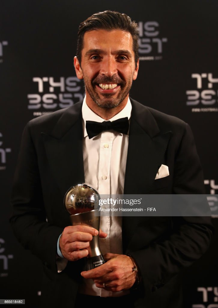 Gianluigi Buffon poses with his award after being included in the team of the year during The Best FIFA Football Awards at The London Palladium on October 23, 2017 in London, England.