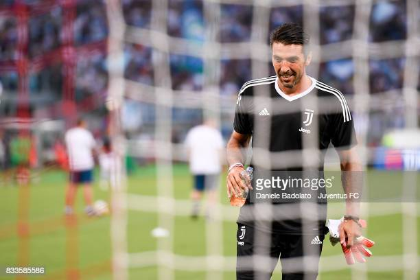 Gianluigi Buffon warm up before the Italian Supercup match between Juventus and SS Lazio at Stadio Olimpico on August 13 2017 in Rome Italy