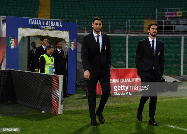 Gianluigi Donnarumma and Davide Astori of Italy look on during the Italy pitch inspetcion at Stadio Renzo Barbera on March 23 2017 in Palermo Italy