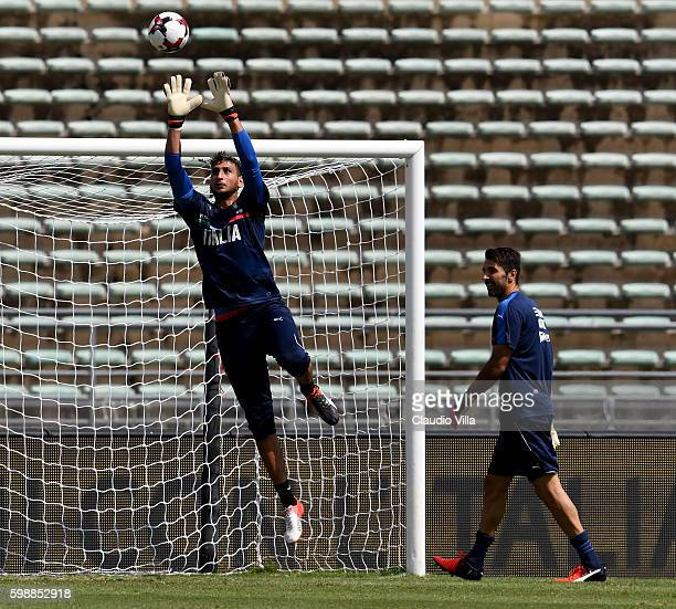 Gianluigi Donnarumma and Gianluigi Buffon of Italy during the Italy training session at Stadio San Nicola on September 3 2016 in Bari Italy