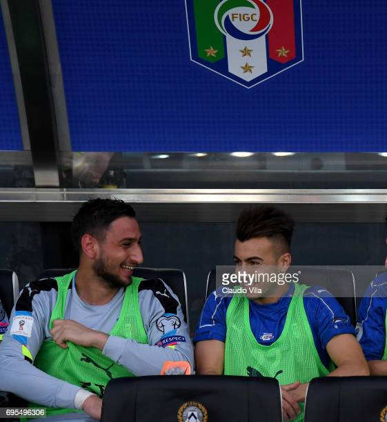 Gianluigi Donnarumma and Stephan El Shaarawy chat prior to the FIFA 2018 World Cup Qualifier between Italy and Liechtenstein at Stadio Friuli on June...
