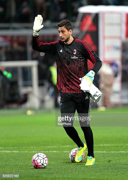 Gianluigi Donnarumma before the serie A match between AC Milan and Juventus FC at Giuseppe Meazza stadium on april 9 2016 in Milano italy