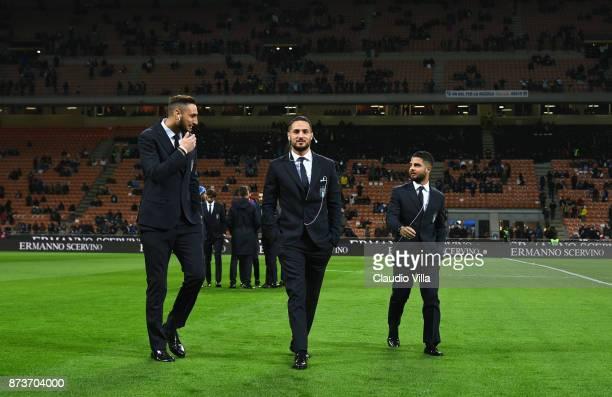 Gianluigi Donnarumma Danilo D'Ambrosio and Lorenzo Insigne of Italy inspect the pitch priorto the FIFA 2018 World Cup Qualifier PlayOff Second Leg...