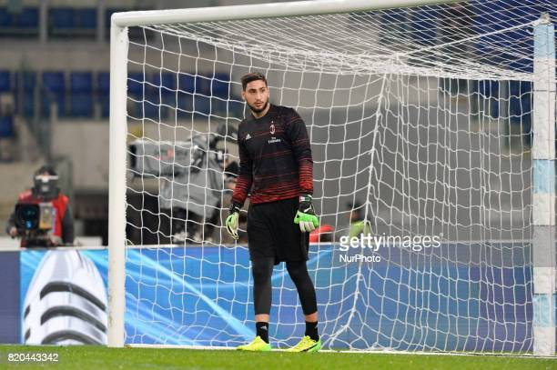 Gianluigi Donnarumma during the Italian Serie A football match between SS Lazio and AC Milan at the Olympic Stadium in Rome on february 13 2017