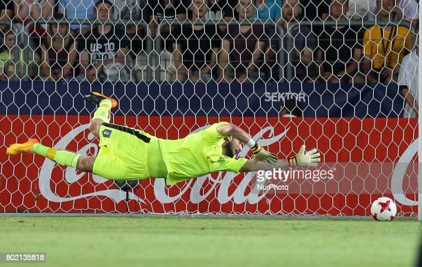 Gianluigi Donnarumma during the UEFA European Under21 Championship Semi Final match between Spain and Italy at Krakow Stadium on June 27 2017 in...