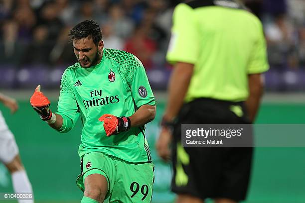 Gianluigi Donnarumma goalkeeper of AC Milan celebrates after he saved a penalty kick from Josip Ilicic during the Serie A match between ACF...