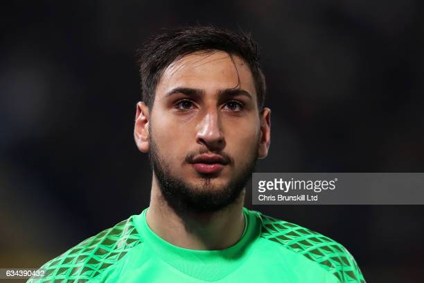 Gianluigi Donnarumma of AC Mian looks on during the Serie A match between Bologna FC and AC Milan at Stadio Renato Dall'Ara on February 8 2017 in...