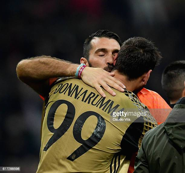 Gianluigi Donnarumma of AC Milan and Gianluigi Buffon of Juventus FC at the end of the Serie A match between AC Milan and Juventus FC at Stadio...