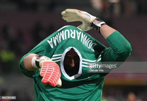Gianluigi Donnarumma of AC Milan at the end of the Serie A match between AC Milan and Spal at Stadio Giuseppe Meazza on September 20 2017 in Milan...