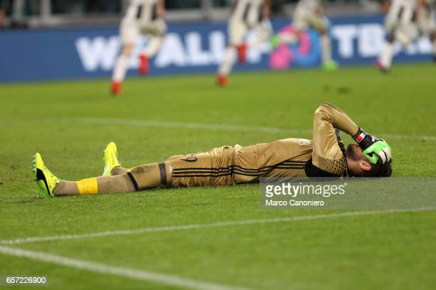 Gianluigi Donnarumma of Ac Milan despairs at the end of Serie A football match between Juventus FC and Ac Milan at Juventus Stadium Juventus FC wins...