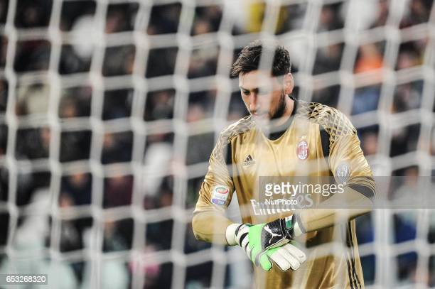 Gianluigi Donnarumma of AC Milan during the Serie A match between Juventus FC and AC Milan at Juventus Stadium on March 10 2017 in Turin Italy