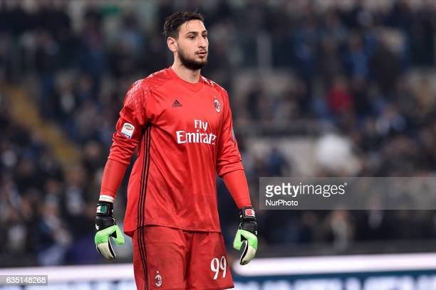 Gianluigi Donnarumma of AC Milan during the Serie A match between Lazio and Milan at Stadio Olimpico Rome Italy on 13 February 2017 Photo by Giuseppe...