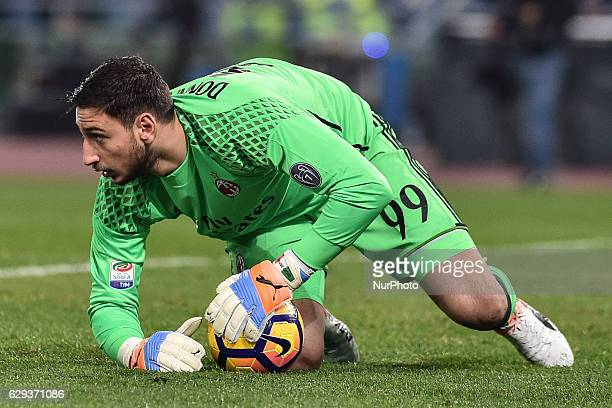 Gianluigi Donnarumma of AC Milan during the Serie A match between Roma v Milan on December 12 2016 in Rome Italy