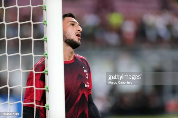 Gianluigi Donnarumma of Ac Milan during the UEFA Europa League Qualifying PlayOffs round first leg match between AC Milan and KF Shkendija AC Milan...