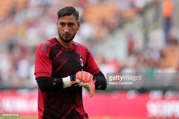 Gianluigi Donnarumma of Ac Milan during UEFA Europa League Qualifying Round match between AC Milan and CSU Craiova AC Milan won 20 on the night and...