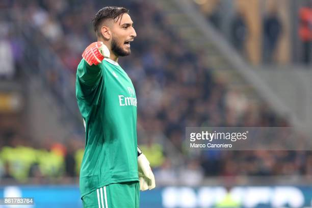 Gianluigi Donnarumma of Ac Milan gestures during the Serie A football match between FC Internazionale and AC Milan Fc Internazionale wins 32 over Ac...