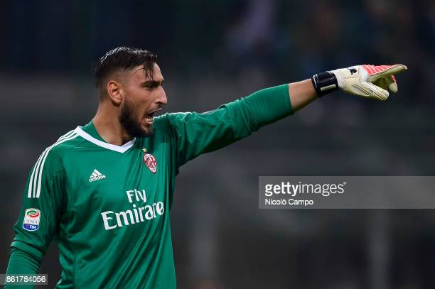 Gianluigi Donnarumma of AC Milan gestures during the Serie A football match between FC Internazionale and AC Milan FC Internazionale wins 32 over AC...