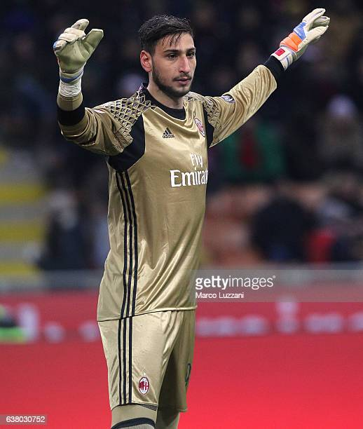 Gianluigi Donnarumma of AC Milan gestures during the Serie A match between AC Milan and Cagliari Calcio at Stadio Giuseppe Meazza on January 8 2017...
