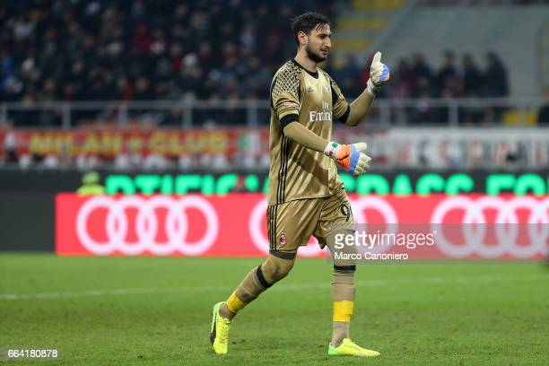 Gianluigi Donnarumma of AC Milan gestures during the Serie A match between AC Milan and SSC Napoli SSC Napoli wins 21 over AC Milan