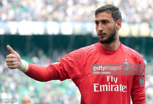 Gianluigi Donnarumma of AC Milan gestures during the Serie A match between FC Internazionale and AC Milan at Stadio Giuseppe Meazza on April 15 2017...