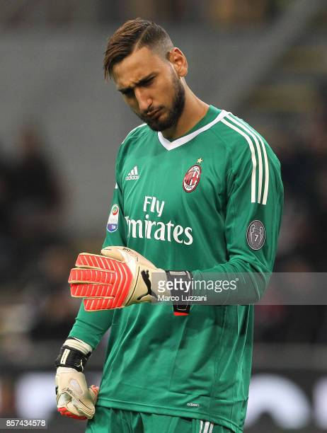 Gianluigi Donnarumma of AC Milan gestures during the Serie A match between AC Milan and AS Roma at Stadio Giuseppe Meazza on October 1 2017 in Milan...