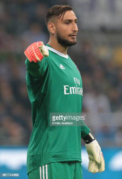 Gianluigi Donnarumma of AC Milan gestures during the Serie A match between FC Internazionale and AC Milan at Stadio Giuseppe Meazza on October 15...