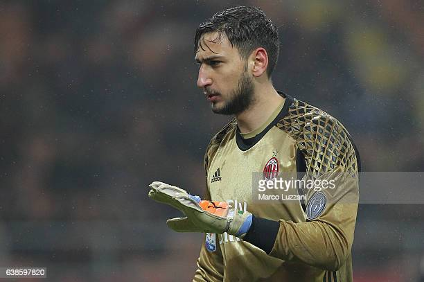 Gianluigi Donnarumma of AC Milan gestures during the TIM Cup match between AC Milan and AC Torino at Giuseppe Meazza Stadium on January 12 2017 in...