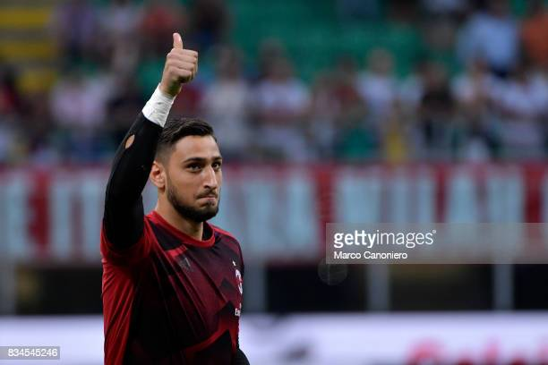 Gianluigi Donnarumma of Ac Milan in action during AC Milan and KF Shkendija UEFA Europa League 2017/2018 AC Milan wins 60 over KF Shkendija
