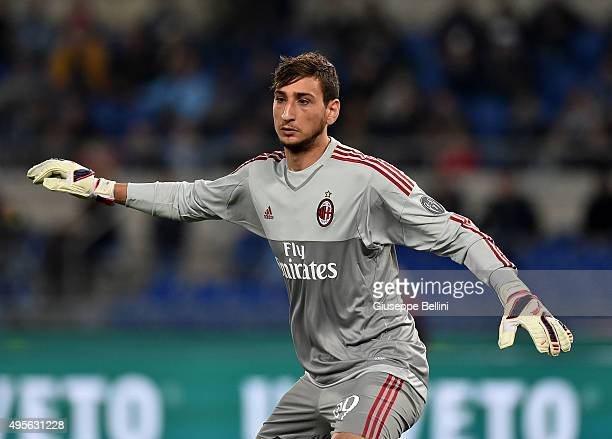 Gianluigi Donnarumma of AC Milan in action during the Serie A match between SS Lazio and AC Milan at Stadio Olimpico on November 1 2015 in Rome Italy