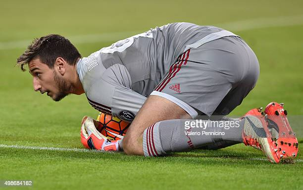 Gianluigi Donnarumma of AC Milan in action during the Serie A match between Juventus FC and AC Milan at Juventus Arena on November 21 2015 in Turin...