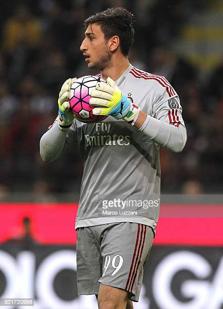 Gianluigi Donnarumma of AC Milan in action during the Serie A match between AC Milan and Juventus FC at Stadio Giuseppe Meazza on April 9 2016 in...